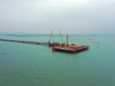 主塔首根桩基开钻,黄茅海跨海通道主体工程全面施工
