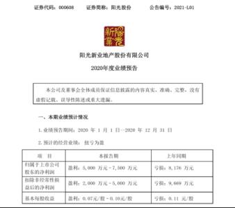 """阳光股份2020年度业绩预告扭亏为盈,现任管理层顺利""""交卷"""""""