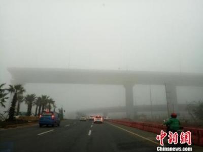 大雾笼罩海口:港口暂时停航 过海车辆待渡