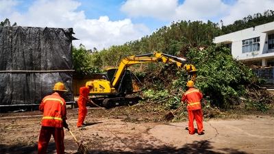 深圳正全力处理绿化垃圾 力争再用3天扶正倒伏的树木