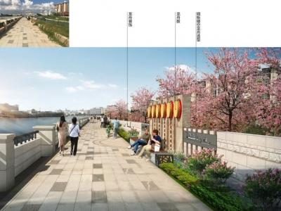 東莞麻涌河兩岸打造高顏值防洪景觀墻
