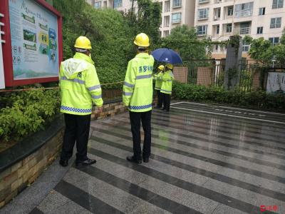 燕罗网格员开展防暴雨巡查 提高居民汛期安全防护意识