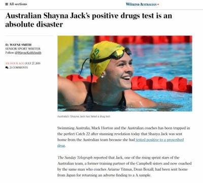 澳大利亚反兴奋剂机构前首席执行官批评澳泳协掩盖真相