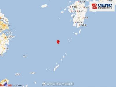 中国东海附近发生6.0级左右地震