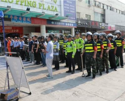 深圳市龙岗区园山街道百余人参加反恐应急演练