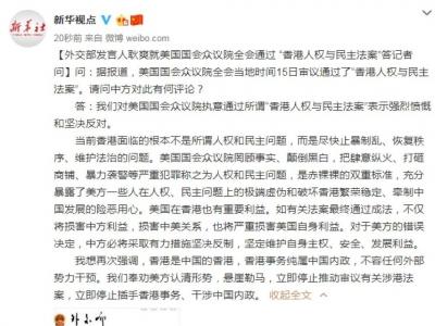 """外交部发言人就美国国会众议院全会通过 """"香港人权与民主法案""""答记者问"""