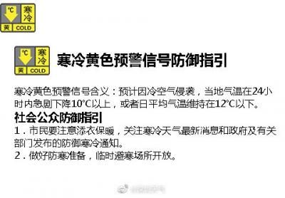 降温!深圳市气象发布寒冷黄色预警