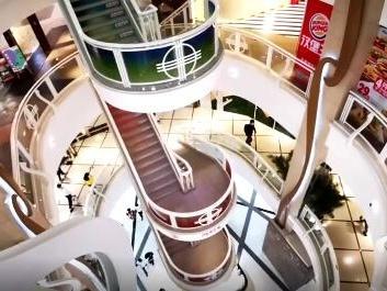 """上海一商场现旋转""""卡路里楼梯"""""""