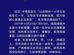 """山西朔州警方通报""""一小学生在校坠亡"""":排除他杀"""