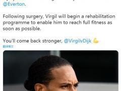 利物浦后防大将范戴克膝盖韧带受伤,将接受手术