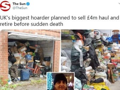 老人生前疯狂囤6万件物品 拍卖总价最高达400万英镑