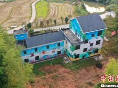航拍江西万安田北农民画村 房屋墙面色彩斑斓