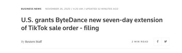 美国将字节跳动的TikTok出售令期限再次延长7天
