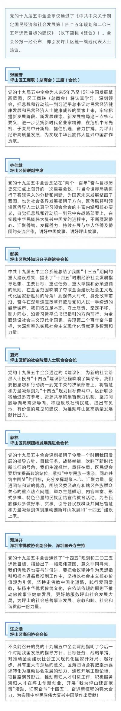 坪山區統一戰線代表人士熱議黨的十九屆五中全會精神